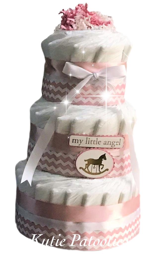 My Little Angel Chevron Diaper Cake