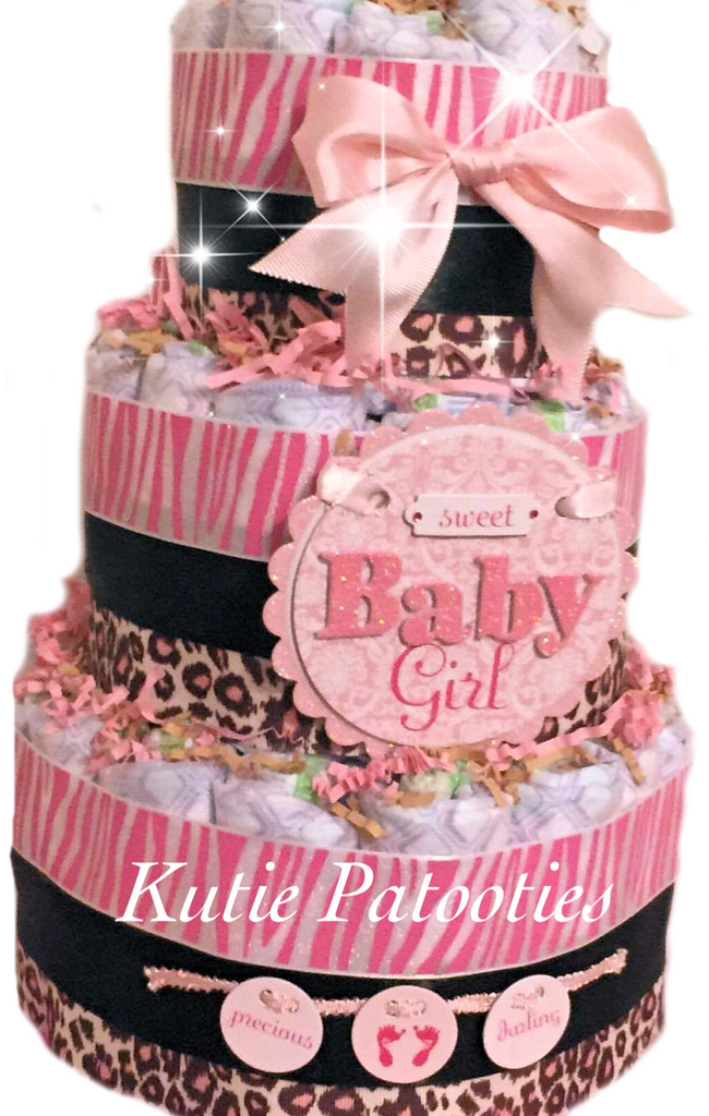 Sweet Baby Girl Zebra Diaper Cake