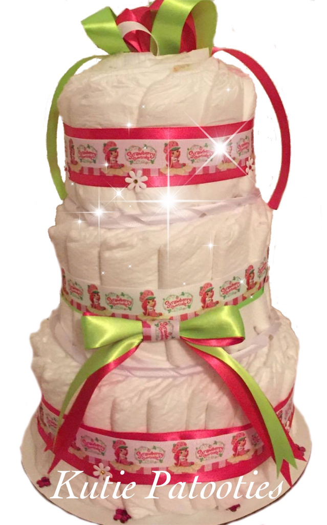 Strawberry Short Cake Inspired Diaper Cake