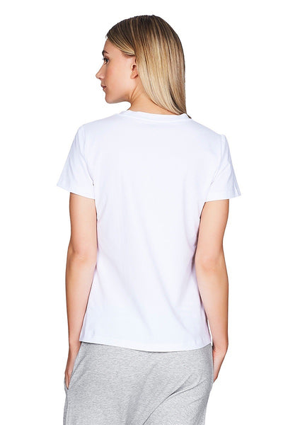 Doux White Tee Women Back Cropped