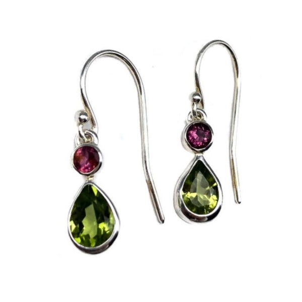 Peridot & Pink Turmaline Earrings #111