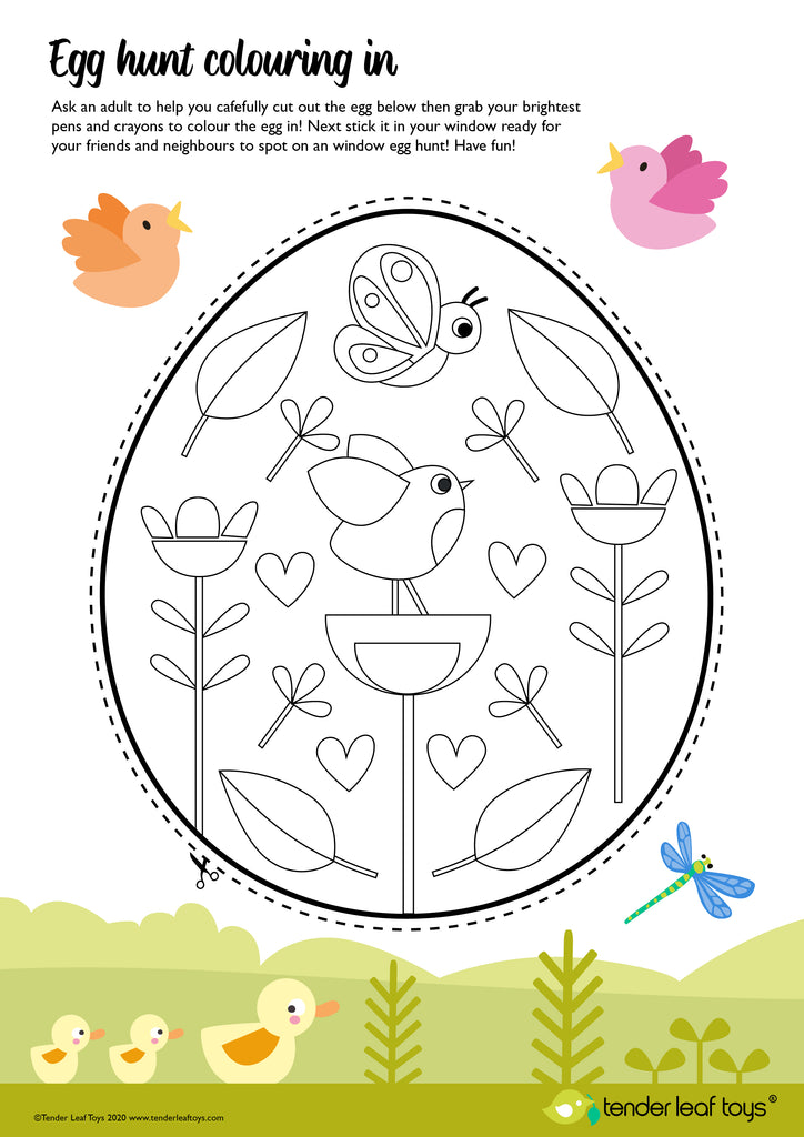 Easter Egg Hunt colouring in page