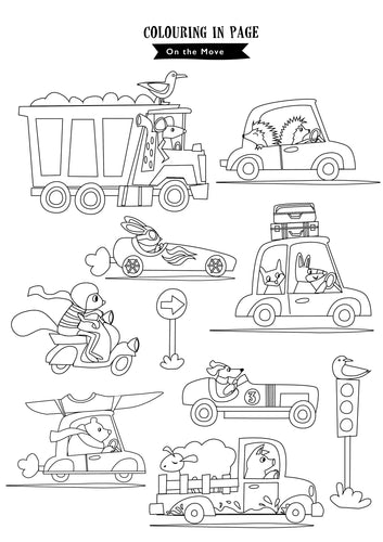 On the Move colouring in sheet