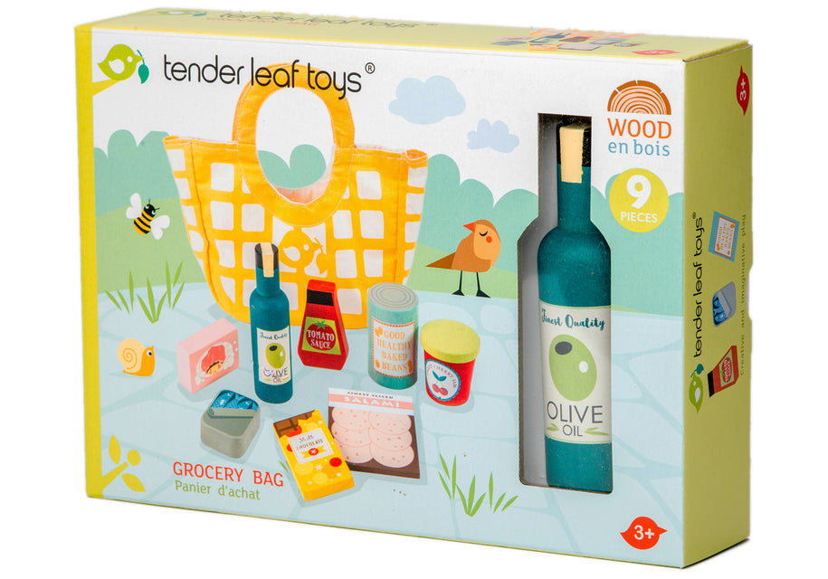 wooden toy grocery set packaging box