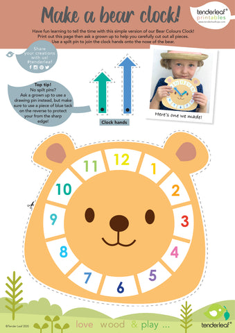 free printable clock activity for kids room