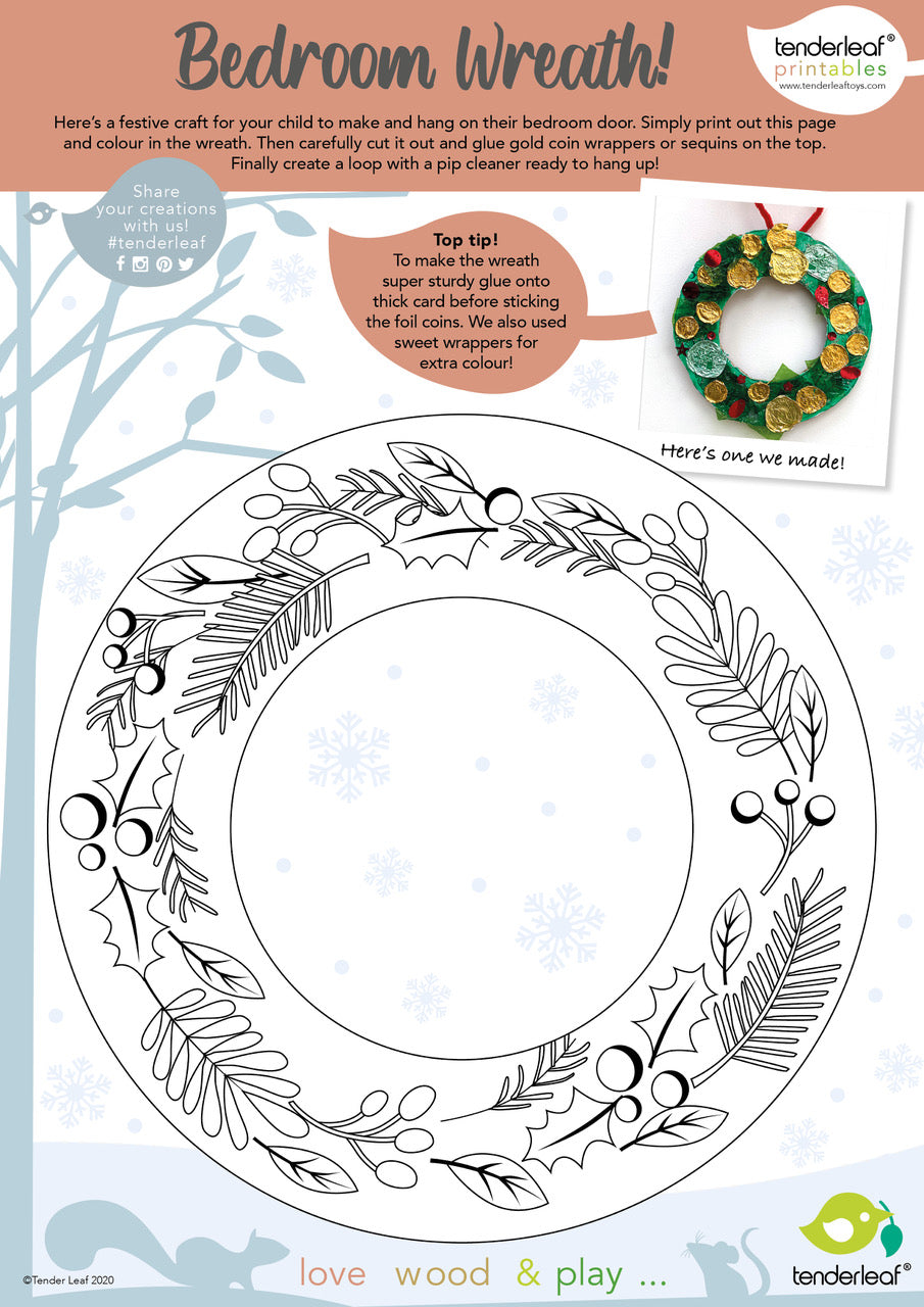 free printable christmas craft activity wreath to colour in