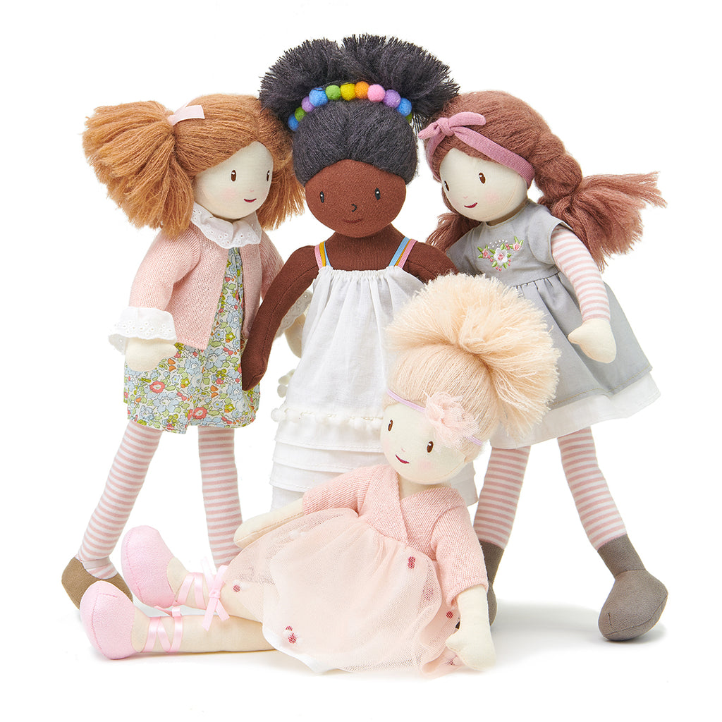 plastic-free sustainable toy Threadbear rag doll soft for children with plaits and dress