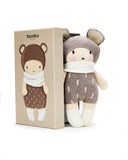 threadbear design baby and toddler toys soft knitted bear doll with ears scarf and socks in beige biscuit and cream