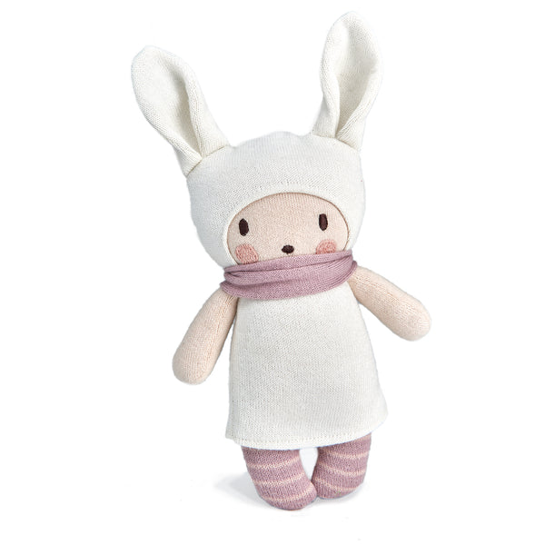 threadbear design baby and toddler toys soft knitted bunny rabbit doll with scarf and stripes in cream white and pink