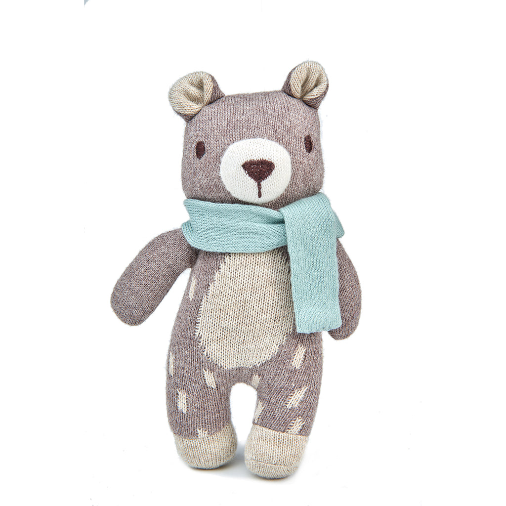 threadbear design baby and toddler toys soft knitted bear doll with scarf in beige brown biscuit