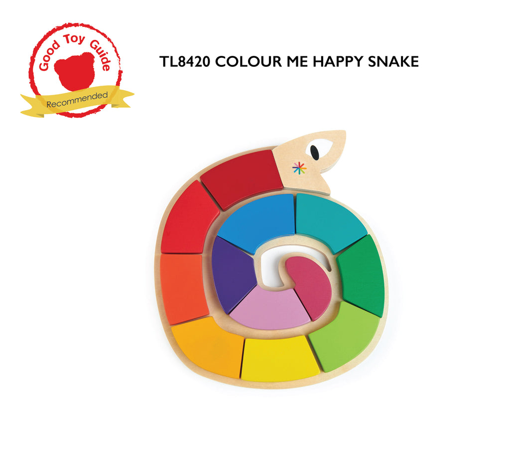 Tender Leaf Toys wooden colourful puzzle snake with 12 educational coloured pieces that match up to a 3 dimensional recessed shape underneath