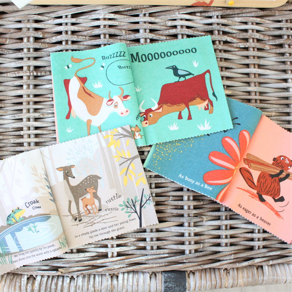 threadbear childrens gift animal themed illustrated ragbook made from cotton and sold in a colour box in bright red perfect for a gift
