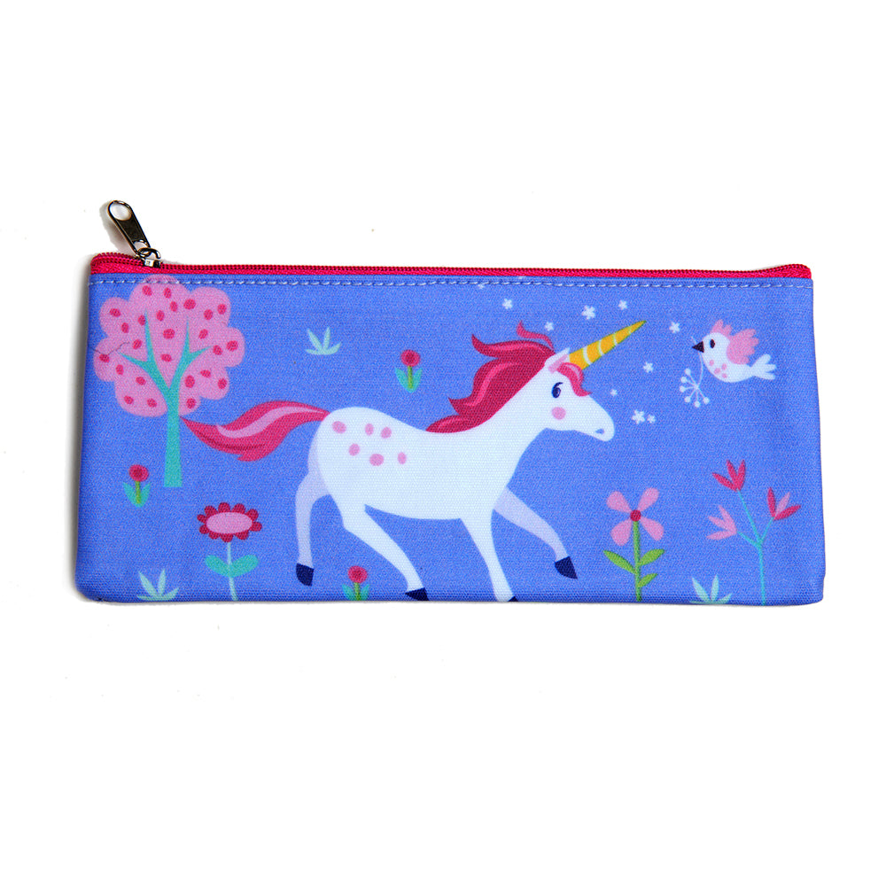 ThreadBear Design Biodegradable unicorn pencil case with wipe clean surface in lilac