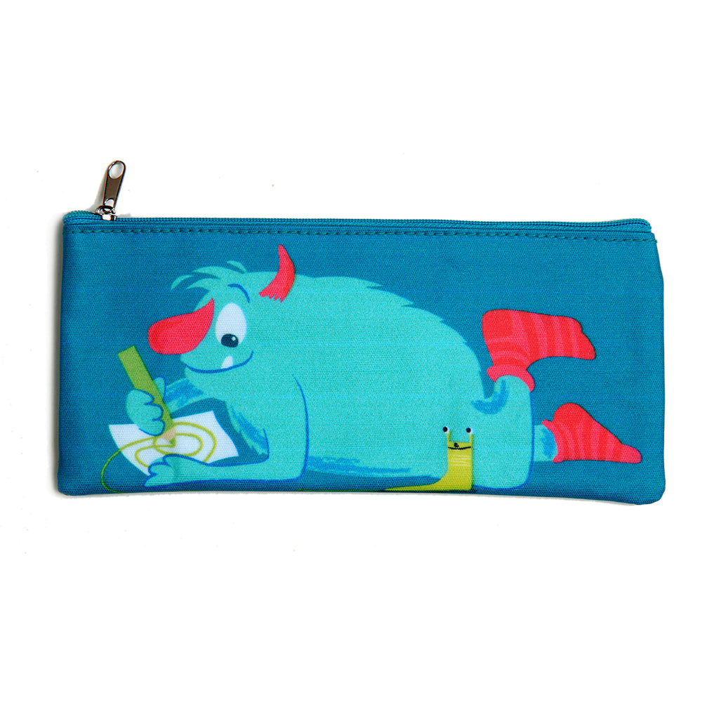 ThreadBear Design Biodegradable Monster pencil case with wipe clean surface in blue