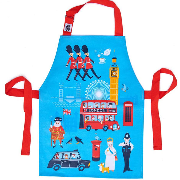 ThreadBear Design Biodegradable London theme Aprons with in blue