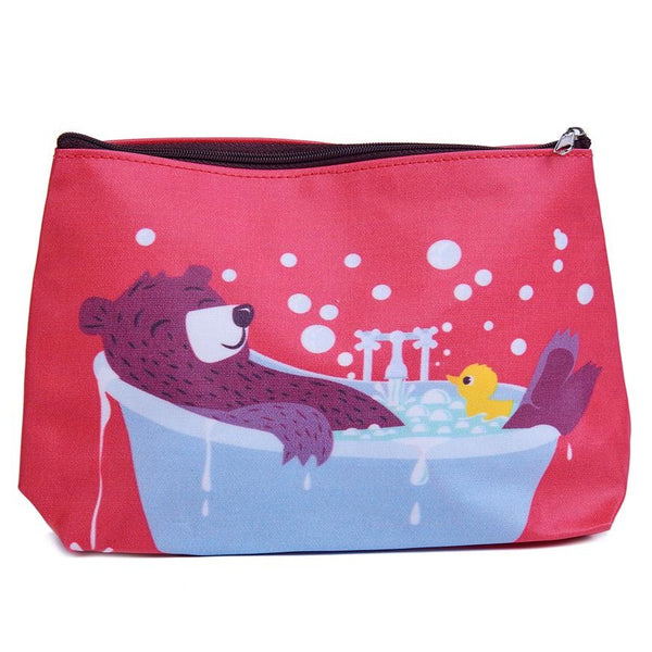 ThreadBear Design Biodegradable bear wash bag with wipe clean surface in red