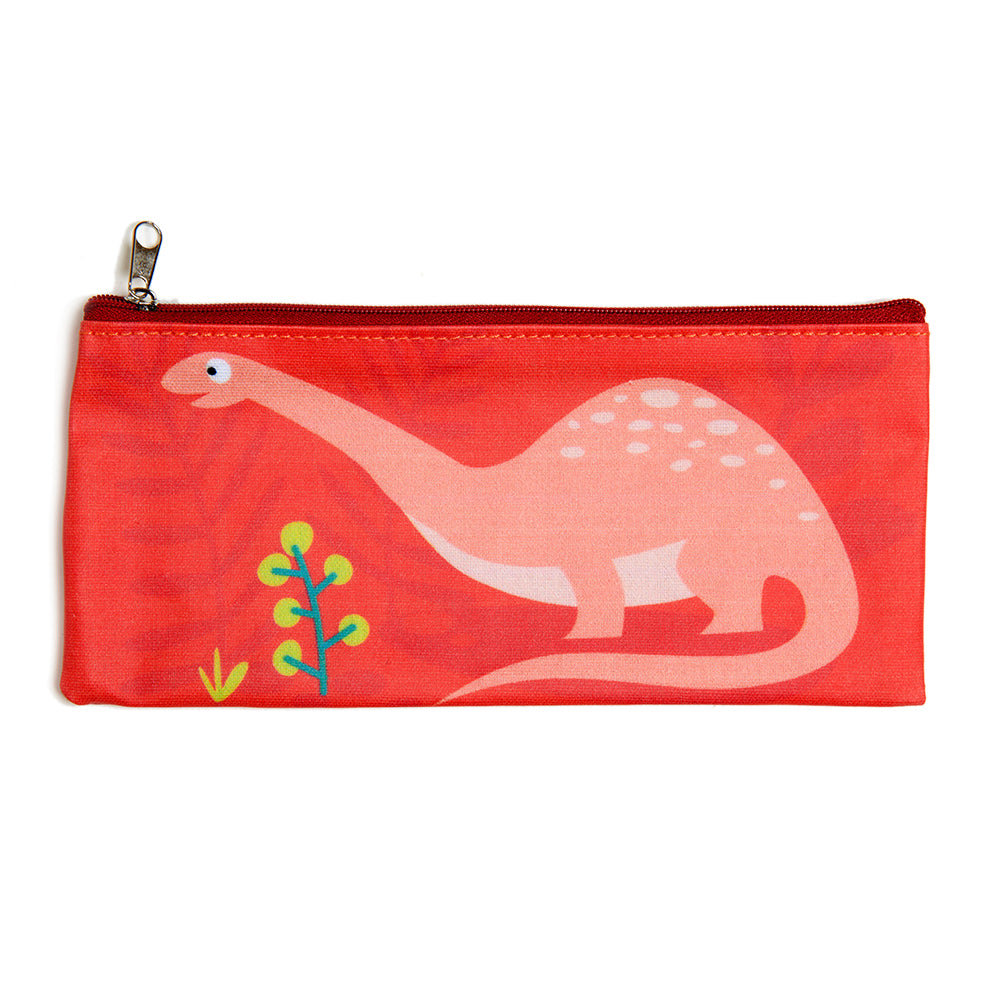 ThreadBear Design Biodegradable dinosaur pencil case with wipe clean surface in red