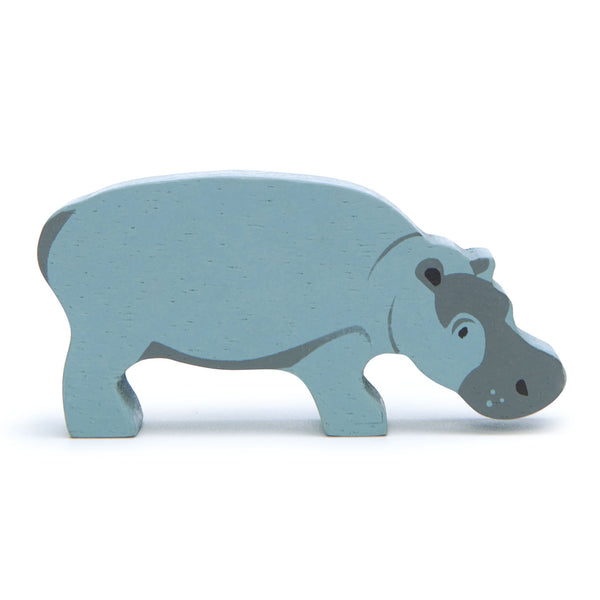 Tender Leaf wooden hippo toy in grey