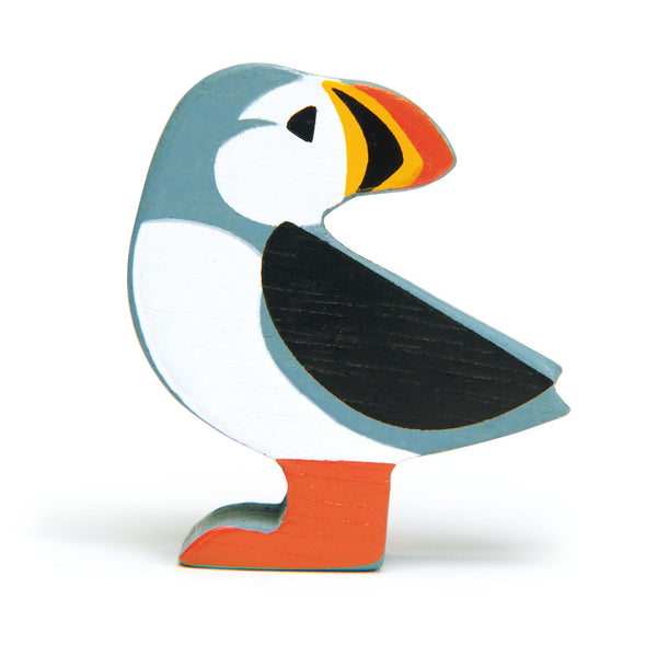 Tenderleaf wooden puffin animal toy in blue and red