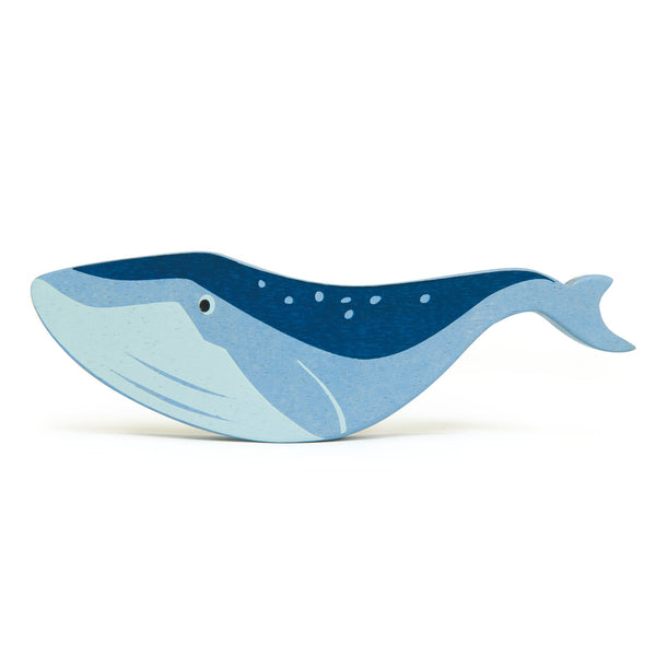 Tenderleaf wooden whale animal toy in blue