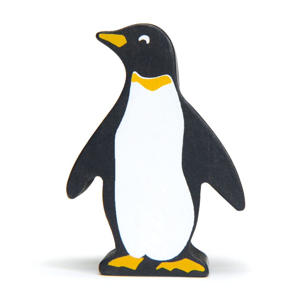 Tender Leaf wooden penguin animal toy in black and white