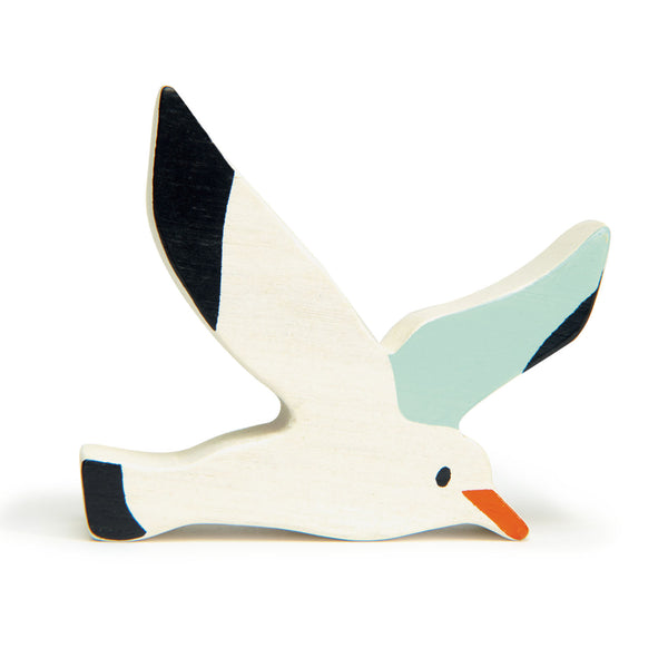 Tenderleaf wooden seagull animal toy in white