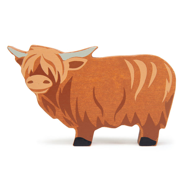 Tender Leaf wooden highland cow toy in brown