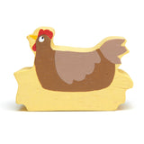 Tender Leaf wooden toys animal chicken hen in hay