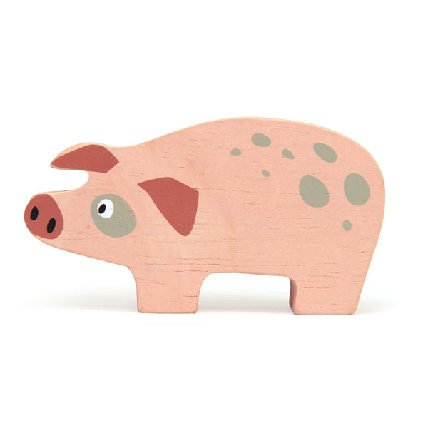 Tender leaf wooden Pig toy in pink