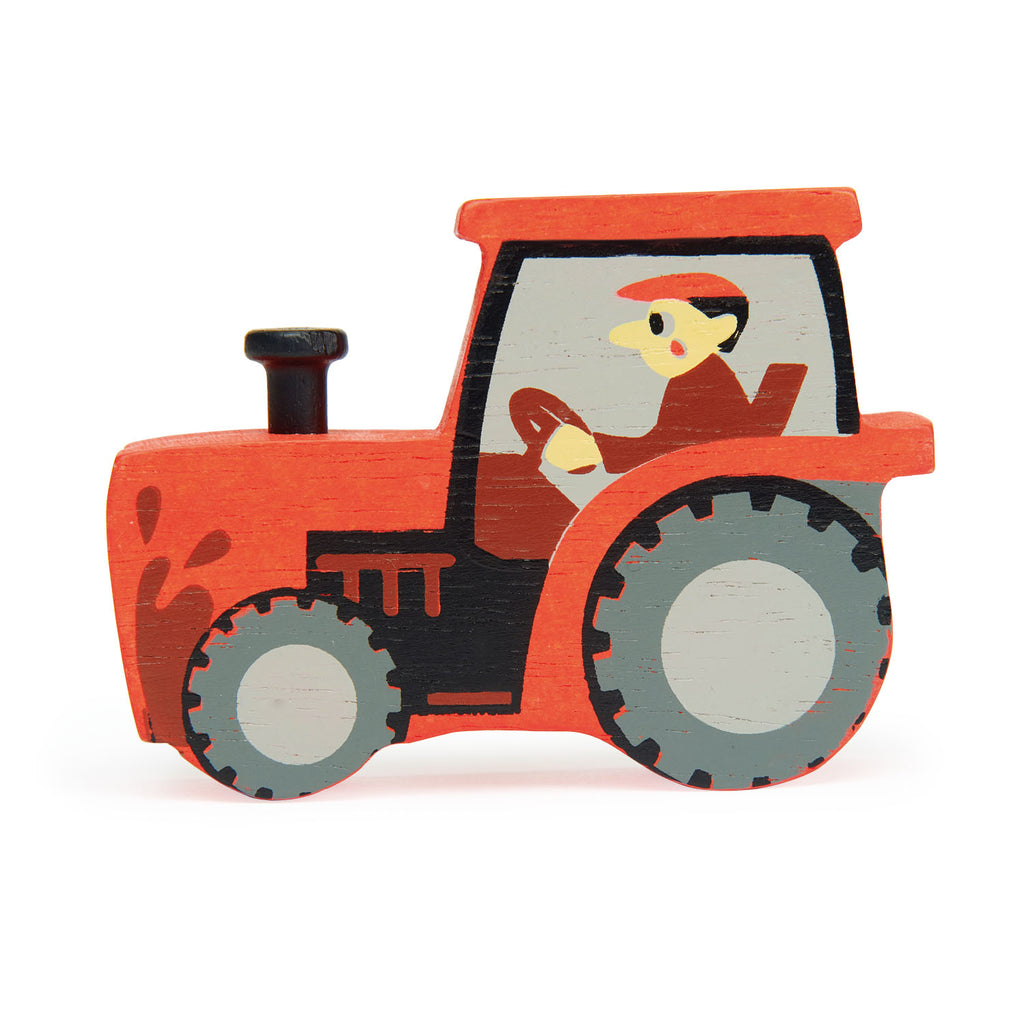 Tender Leaf wooden tractor toy in red