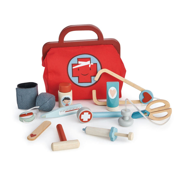 Tender leaf wooden toys doctors bag play game set for children with stethoscope ointment thermometer mask and scissors in red