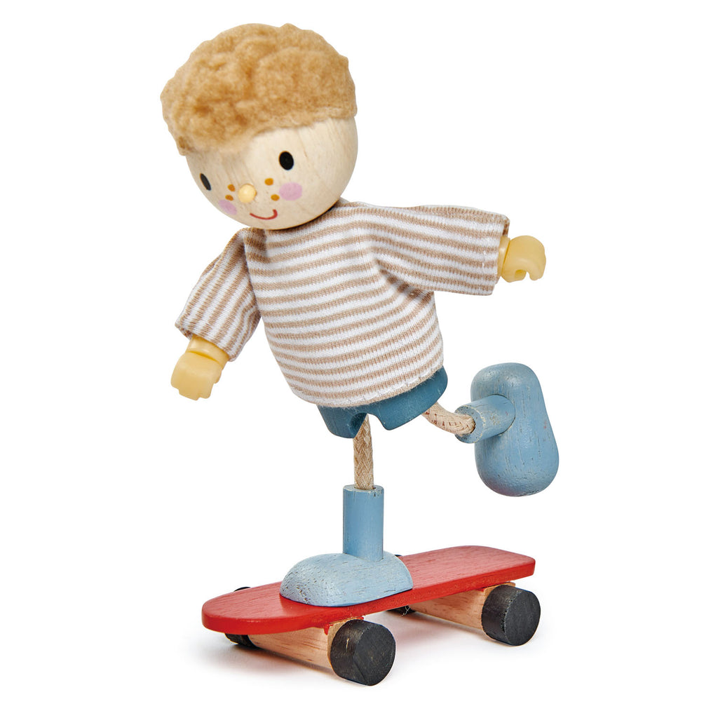 Tender Leaf Toys Wooden Dolls Edward And His Skateboard