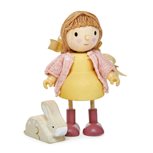 Tender Leaf Toys wooden doll Amy and her rabbit