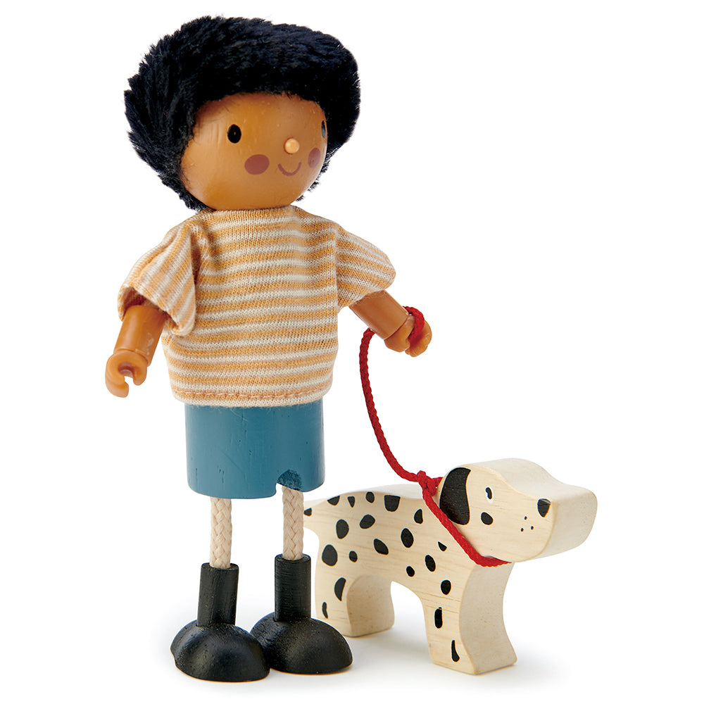 Tender leaf wooden toys dad doll with bendy arms and legs for children and toddlers with Dalmatian puppy dog pet