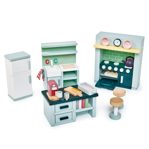 Tender Leaf Toys Wooden Dolls House kitchen Furniture set