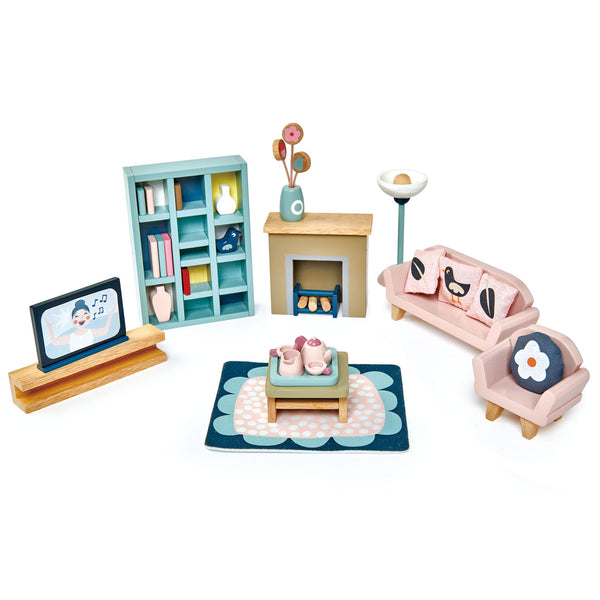 Tender Leaf Toys Wooden Dolls House sitting roo, Furniture set