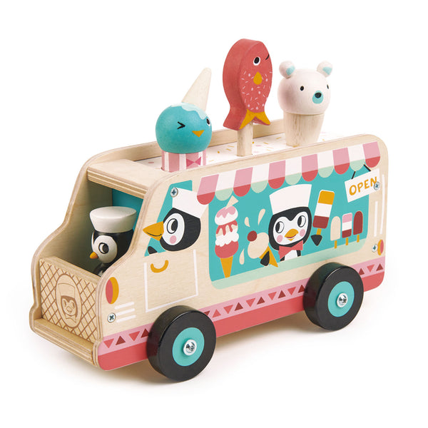 Tender Leaf Toys wooden gelato ice cream van driven by a couple of pesky penguins