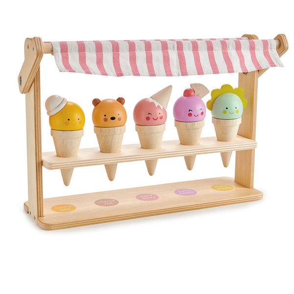 Tender Leaf wooden toy ice cream lolly stand with smiling faces and colourful tops. perfect gift for children in the summer