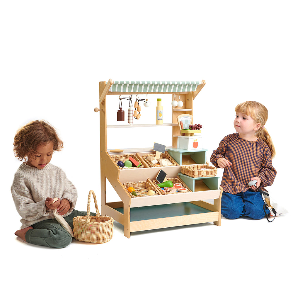 Tenderleaf wooden toys market stall stand toy for pretend play with children develop social and learning skills