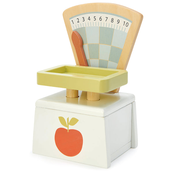 Tender Leaf wooden market day weighing scales for children. Great for pretend play and play food perfect for pretend shopping with kids