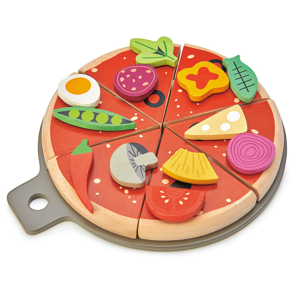 Tender Leaf wooden kitchen play food pizza set for children with 12 slices pretend play tea party gift present idea with illustrated box