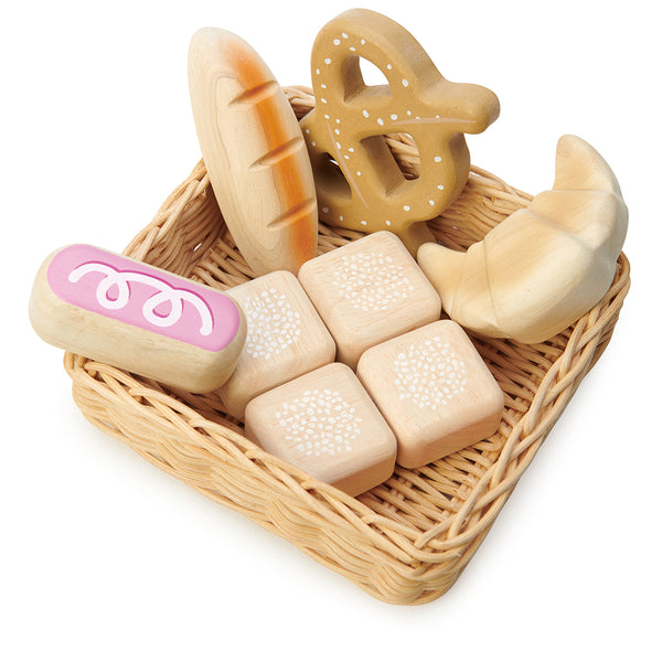 A hand crafted wicker basket with croissant, iced bun, pretzel, baguette and 4 pull apart bread rolls for sharing. Part of our Market day Range and an accessory to our gorgeous General Stores market stand