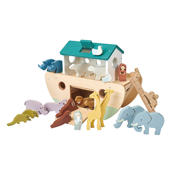 Tender Leaf wooden toys Noahs ark with lots of animal accessories