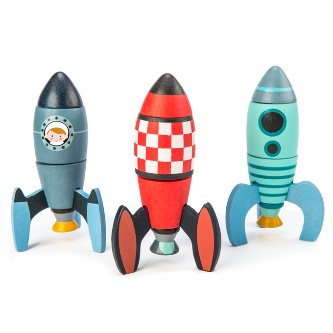 Tender Leaf Toys wooden rocket set for building and constructing. Set includes 18 pieces to build three different space rockets