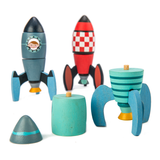 3 wooden rocket toys that can all be reconstructed