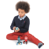 3 wooden rocket toys for creative play