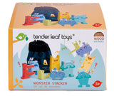 Tender Leaf Toys wooden stacking educational monster toy with 6 colourful monsters, that pack away neatly into a drawstring canvas bag