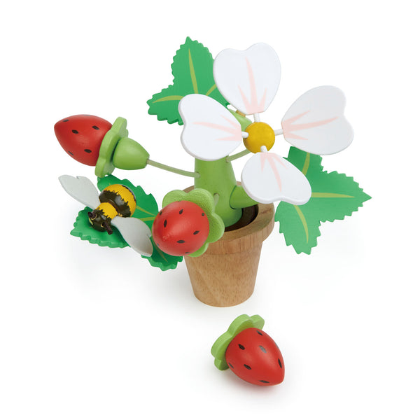 Tender Leaf wooden toy flower pot with strawberries