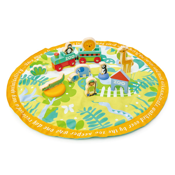 Tender Leaf Toys wooden and fabric safari park story bag with characters