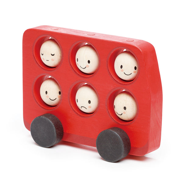 Tender Leaf Toys wooden red bus for toddlers with 6 smiley rotating faces